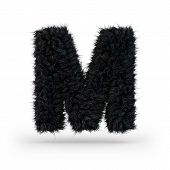 Uppercase Fluffy And Furry Black Font. Letter M. 3d Rendering poster