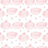 Pig Princess. Pig With Glasses. Cute Seamless Pattern With Pink Pigs. Isolated Muzzle Of Pigs On A W poster
