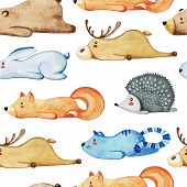 Seamless Pattern With Different Cute Animals. Lazy Animals. Watercolor poster