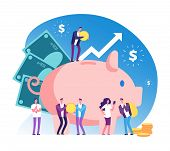 Piggy Bank And People. Deposit Money Bank, Wealth And Cash Accumulator Financial Vector Concept. Ill poster