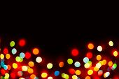 Christmas Background With Lights And Free Text Space. Christmas Lights Border. Glowing Colorful Chri poster