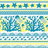 Stripe Seamless Pattern With Sea Underwater Animals. Cute Cartoon Jellyfish, Coral, Starfish And Tro poster