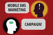 Writing Note Showing Mobile Sms Marketing Campaign. Business Photo Showcasing Advertising Communicat poster