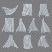 White Cloth Set Vector. Billowing Clear Curly Curtain Transparent White Cloth. Fluttering Curved Fab poster
