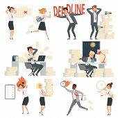 Stressed Office People. Overworked Deadline Time Busy Business Managers Night Workers Vector Cartoon poster