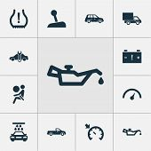 Automobile Icons Set With Alert, Vehicle Wash, Oil Pressure Low And Other Speedometer Elements. Isol poster