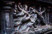 picture of great living chola temples  - Bas relief depicting Durga slaying demon  - JPG