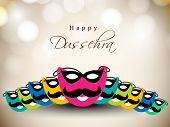 stock photo of dussehra  - Greeting card for Dussehra festival celebration in India - JPG