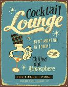 Vintage metal sign - Cocktail Lounge - Vector EPS10. Grunge effects can be easily removed for a bran
