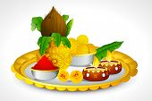 stock photo of kalash  - illustration of puja thali with holy festival object - JPG
