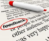 The word Feedback circled in a dictionary with definition representing opinions, criticism, survey r