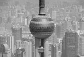 SHANGHAI, CHINA - MAY 28: Oriental Pearl Tower over river on May 28, 2012 in Shanghai, China. The to