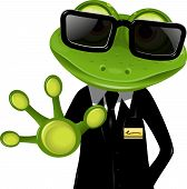 stock photo of amphibious  - frog security guard in a black suit - JPG