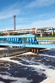 stock photo of wastewater  - Oxigen aeration of wastewater in sewage treatment plant - JPG