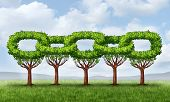 stock photo of row trees  - Network growth business concept with a group of growing green trees in the shape of a linked chain connected together as an icon of financial cooperation for wealth building and environmental teamwork - JPG