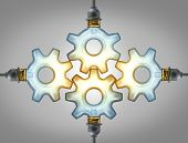 picture of four-wheel  - Business group Inspiration concept as four glowing electric light bulbs in the shape of a gear wheel and cogs connected together in a strong network of partnership for a brilliant success - JPG