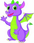 foto of dragon head  - Vector illustration of Cute baby dragon cartoon waving - JPG