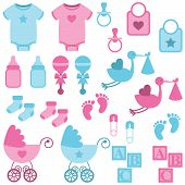 picture of animal footprint  - Vector Set of Boy and Girl Themed Baby Images - JPG