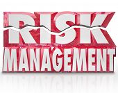 picture of workplace safety  - The words Risk Management in red 3d letters to illustrate the need to minimize liability and increase security and safety for your home - JPG