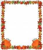 stock photo of fall leaves  - Fall leaves apples and pumpkins creating a great frame border - JPG