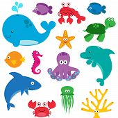 image of crawfish  - Vector Set of Cute Sea Creatures Characters - JPG