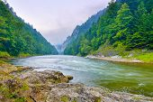 stock photo of pieniny  - The gorge of mountain river in the morning - JPG