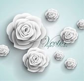 image of paper craft  - 3d paper rose flowers  - JPG