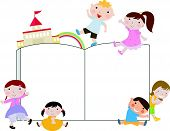 foto of playmate  - Vector illustration of group of kids and book - JPG