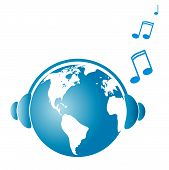 stock photo of eastern hemisphere  - All world listening to music concept vector - JPG