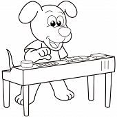 picture of organist  - Cartoon Dog playing an electronic organ - JPG