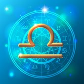 pic of libra  - Golden Zodiac Libra Golden Sign decorative vector over ornated background - JPG