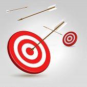 Постер, плакат: Стрельба из лука цели с летающими стрелки вокруг