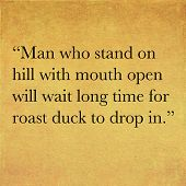 stock photo of roast duck  - Inspirational quote by Confucius on earthy background - JPG