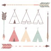 foto of teepee  - Teepee Tents and arrows  - JPG