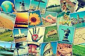 stock photo of instagram  - mosaic with pictures of different places and landscapes - JPG