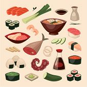 Japanese food. Objects set