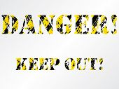 picture of raunchy  - Grunge danger background with striped dirty text - JPG