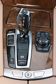 foto of gear-shifter  - Automatic gear shifter in luxury sports car - JPG