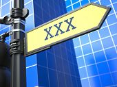 pic of pornographic  - XXX Concept on Yellow Roadsign on a blue urban background - JPG