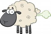 stock photo of fart  - Cute Black Head Sheep Cartoon Mascot Character With Fart Cloud - JPG