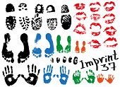 pic of soles  - Image of various prints and footprints of adults children and shoes - JPG