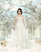 pic of stature  - Bride in beautiful white dress standing in a long alley fabulous - JPG