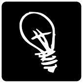 pic of light-bulb  - Icon of white light bulb on black background - JPG