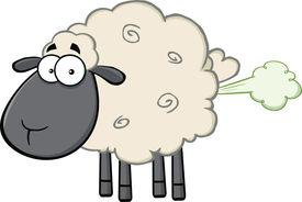 pic of fart  - Cute Black Head Sheep Cartoon Mascot Character With Fart Cloud - JPG