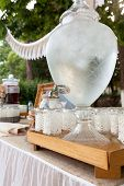 pic of buffet  - Buffet with refreshing beverages at a wedding out of the church - JPG