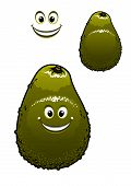 stock photo of dimples  - Happy little green cartoon avocado fruit with a beaming smile and dimples - JPG