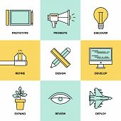picture of promoter  - Flat line icons of creative design process web product development studio technical service prototype engineering marketing promotion - JPG