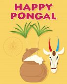 foto of pongal  - an illustration of an India festive happy pongal greeting card with overflowing pot sugar canes a cow head and india symbol on a mustard background - JPG