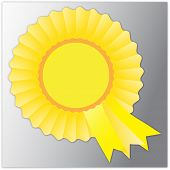 stock photo of rosette  - Vector illustration of nice yellow rosette badge - JPG
