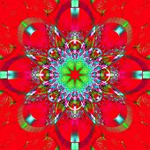 picture of symmetrical  - Symmetrical fractal pattern with shiny strips - JPG